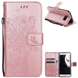 Embossing Butterfly Tree Leather Wallet Case for Samsung Galaxy S7 Edge s7edge - Rose Pink