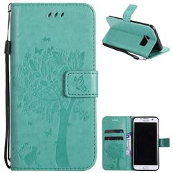 Embossing Butterfly Tree Leather Wallet Case for Samsung Galaxy S7 Edge s7edge - Cyan