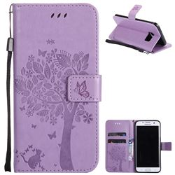 Embossing Butterfly Tree Leather Wallet Case for Samsung Galaxy S7 Edge s7edge - Violet