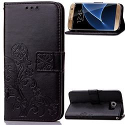 Embossing Imprint Four-Leaf Clover Leather Wallet Case for Samsung Galaxy S7 Edge - Black