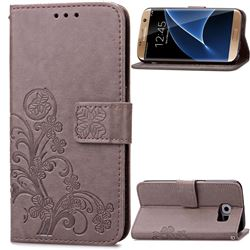 Embossing Imprint Four-Leaf Clover Leather Wallet Case for Samsung Galaxy S7 Edge - Gray