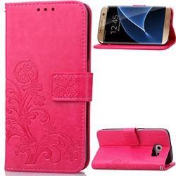 Embossing Imprint Four-Leaf Clover Leather Wallet Case for Samsung Galaxy S7 Edge - Rose