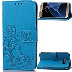 Embossing Imprint Four-Leaf Clover Leather Wallet Case for Samsung Galaxy S7 Edge - Blue