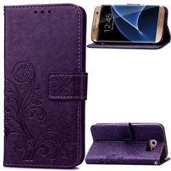 Embossing Imprint Four-Leaf Clover Leather Wallet Case for Samsung Galaxy S7 Edge - Purple