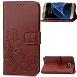 Embossing Imprint Four-Leaf Clover Leather Wallet Case for Samsung Galaxy S7 Edge - Brown
