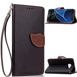 Leaf Buckle Litchi Leather Wallet Phone Case for Samsung Galaxy S7 Edge - Black