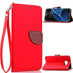 Leaf Buckle Litchi Leather Wallet Phone Case for Samsung Galaxy S7 Edge - Red