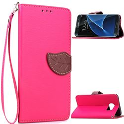 Leaf Buckle Litchi Leather Wallet Phone Case for Samsung Galaxy S7 Edge - Rose