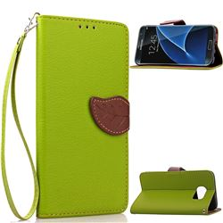 Leaf Buckle Litchi Leather Wallet Phone Case for Samsung Galaxy S7 Edge - Green