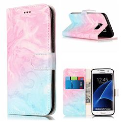 Pink Green Marble PU Leather Wallet Case for Samsung Galaxy S7 Edge G935