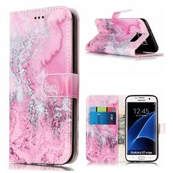 Pink Seawater PU Leather Wallet Case for Samsung Galaxy S7 Edge G935