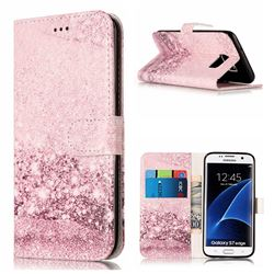 Glittering Rose Gold PU Leather Wallet Case for Samsung Galaxy S7 Edge G935