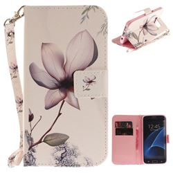 Magnolia Flower Hand Strap Leather Wallet Case for Samsung Galaxy S7 Edge s7edge