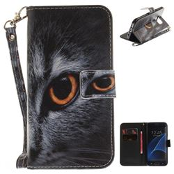 Cat Eye Hand Strap Leather Wallet Case for Samsung Galaxy S7 Edge s7edge