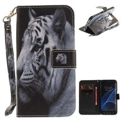 White Tiger Hand Strap Leather Wallet Case for Samsung Galaxy S7 Edge s7edge
