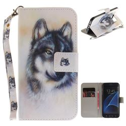Snow Wolf Hand Strap Leather Wallet Case for Samsung Galaxy S7 Edge s7edge