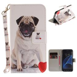 Pug Dog Hand Strap Leather Wallet Case for Samsung Galaxy S7 Edge s7edge