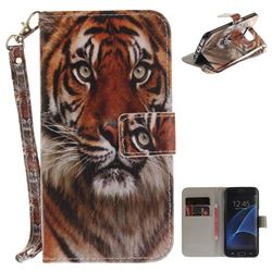 Siberian Tiger Hand Strap Leather Wallet Case for Samsung Galaxy S7 Edge s7edge