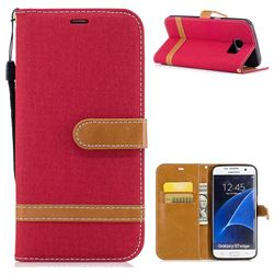 Jeans Cowboy Denim Leather Wallet Case for Samsung Galaxy S7 Edge s7edge - Red