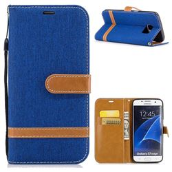 Jeans Cowboy Denim Leather Wallet Case for Samsung Galaxy S7 Edge s7edge - Sapphire