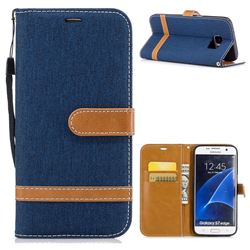 Jeans Cowboy Denim Leather Wallet Case for Samsung Galaxy S7 Edge s7edge - Dark Blue