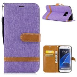 Jeans Cowboy Denim Leather Wallet Case for Samsung Galaxy S7 Edge s7edge - Purple