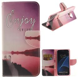 Seaside Scenery PU Leather Wallet Case for Samsung Galaxy S7 Edge s7edge