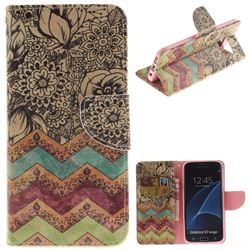 Wave Flower PU Leather Wallet Case for Samsung Galaxy S7 Edge s7edge