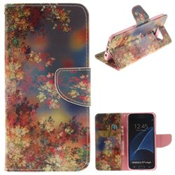 Colored Flowers PU Leather Wallet Case for Samsung Galaxy S7 Edge s7edge
