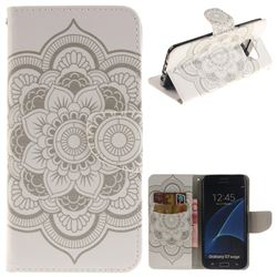 White Flowers PU Leather Wallet Case for Samsung Galaxy S7 Edge s7edge