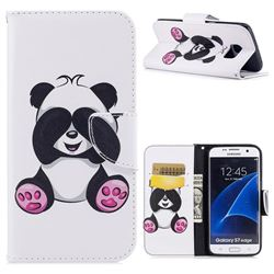 Lovely Panda Leather Wallet Case for Samsung Galaxy S7 Edge s7edge