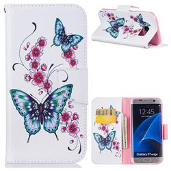 Peach Butterfly Leather Wallet Case for Samsung Galaxy S7 Edge s7edge