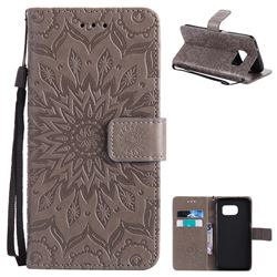 Embossing Sunflower Leather Wallet Case for Samsung Galaxy S7 Edge s7edge - Gray