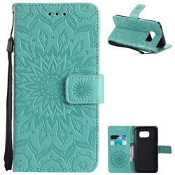 Embossing Sunflower Leather Wallet Case for Samsung Galaxy S7 Edge s7edge - Green