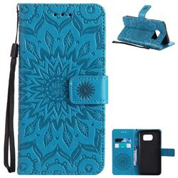 Embossing Sunflower Leather Wallet Case for Samsung Galaxy S7 Edge s7edge - Blue