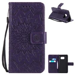 Embossing Sunflower Leather Wallet Case for Samsung Galaxy S7 Edge s7edge - Purple