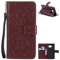 Embossing Sunflower Leather Wallet Case for Samsung Galaxy S7 Edge s7edge - Brown