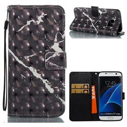 Black Marble 3D Painted Leather Wallet Case for Samsung Galaxy S7 Edge s7edge