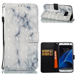 White Gray Marble 3D Painted Leather Wallet Case for Samsung Galaxy S7 Edge s7edge