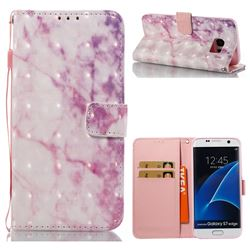 Pink Marble 3D Painted Leather Wallet Case for Samsung Galaxy S7 Edge s7edge