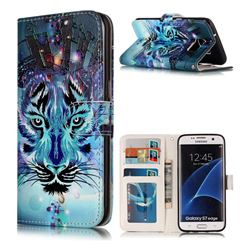 Ice Wolf 3D Relief Oil PU Leather Wallet Case for Samsung Galaxy S7 Edge s7edge