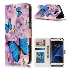 Purple Flowers Butterfly 3D Relief Oil PU Leather Wallet Case for Samsung Galaxy S7 Edge s7edge