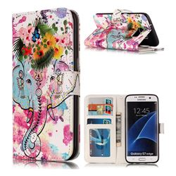 Flower Elephant 3D Relief Oil PU Leather Wallet Case for Samsung Galaxy S7 Edge s7edge