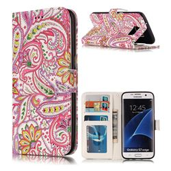 Pepper Flowers 3D Relief Oil PU Leather Wallet Case for Samsung Galaxy S7 Edge s7edge