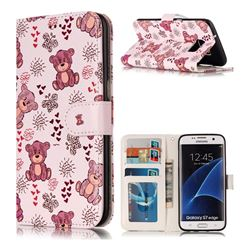 Cute Bear 3D Relief Oil PU Leather Wallet Case for Samsung Galaxy S7 Edge s7edge