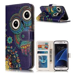 Folk Owl 3D Relief Oil PU Leather Wallet Case for Samsung Galaxy S7 Edge s7edge