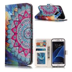 Mandala Flower 3D Relief Oil PU Leather Wallet Case for Samsung Galaxy S7 Edge s7edge