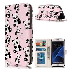 Cute Panda 3D Relief Oil PU Leather Wallet Case for Samsung Galaxy S7 Edge s7edge