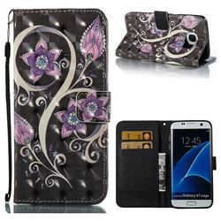 Peacock Flower 3D Painted Leather Wallet Case for Samsung Galaxy S7 Edge s7edge