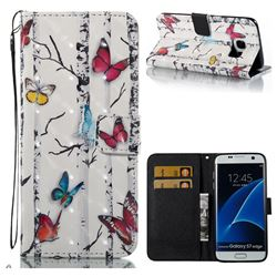 Colored Butterflies 3D Painted Leather Wallet Case for Samsung Galaxy S7 Edge s7edge